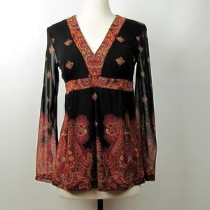 INC International Concepts Paisley Blouse Small